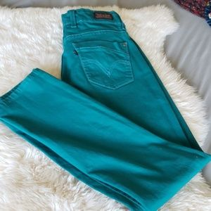 Levis 529 curvy skinny leg teal green jeans